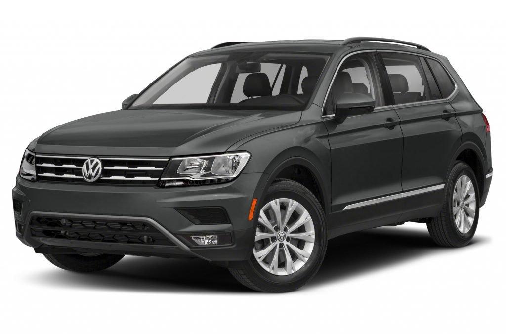 A black 2021 Volkswagen Tiguan SE is pictured.
